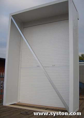 Aluminium Rolling Shutters C38 with cabinet made at Syston Doors