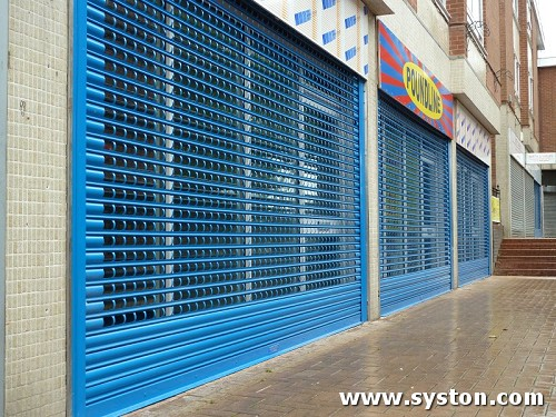 Steel Rolling Shutter using 75mm laths with 76mm x 47mm in-line punching