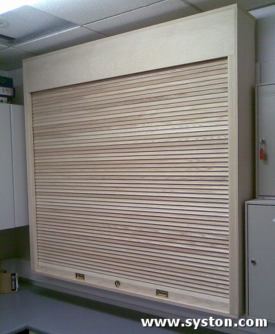 Timber Shutters T134 in White Ash with cabinet manufactured at Syston Doors